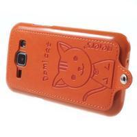 Obal s koženkovým chrbtom a mačičkou Domi pre Samsung Galaxy J1 -  oranžový - 3/6