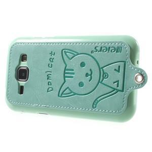 Obal s koženkovým chrbtom a mačičkou Domi pre Samsung Galaxy J1 -  azúrové - 3