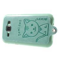 Obal s koženkovým chrbtom a mačičkou Domi pre Samsung Galaxy J1 -  azúrové - 3/6