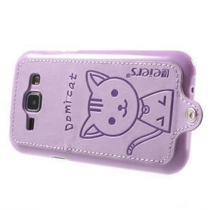 Obal s koženkovým chrbtom a mačičkou Domi pre Samsung Galaxy J1 - fialový - 3