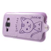 Obal s koženkovým chrbtom a mačičkou Domi pre Samsung Galaxy J1 - fialový - 3/7