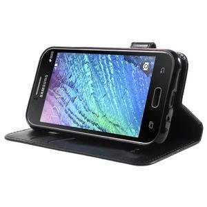 Koženkové puzdro s mačičkou Domi na Samsung Galaxy J1 - čierne - 3