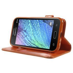 Koženkové puzdro s mačičkou Domi na Samsung Galaxy J1 - oranžové - 3