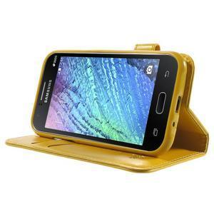 Koženkové puzdro s mačičkou Domi na Samsung Galaxy J1 - žlté - 3