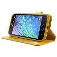 Koženkové puzdro s mačičkou Domi na Samsung Galaxy J1 - žlté - 3/7