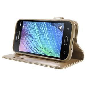 Koženkové puzdro s mačičkou Domi pre Samsung Galaxy J1 - zlaté - 3