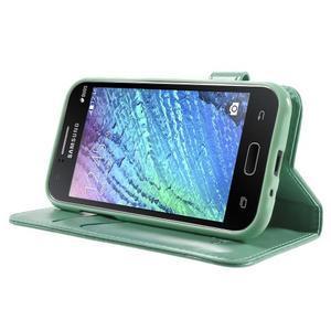 Koženkové puzdro s mačičkou Domi na Samsung Galaxy J1 - zelené - 3