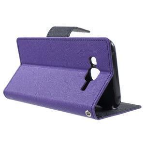 Diary štýlové peňaženkové puzdro pre Samsung Galaxy J5 -  fialové - 3