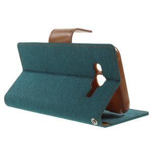 Luxury textilní/pu kožené puzdro na Samsung Galaxy J5 - zelenomodré - 3