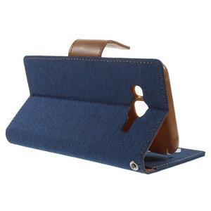 Luxury textilné/pu kožené puzdro pre Samsung Galaxy J5 -  modré - 3