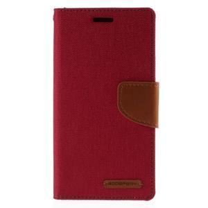 Luxury textilné / koženkové puzdro pre Samsung Galaxy S6 Edge - červené - 3