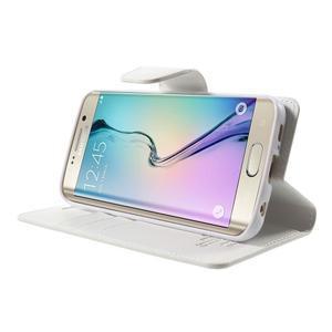 Wallet PU kožené puzdro na Samsung Galaxy S6 Edge G925 -  biele - 3
