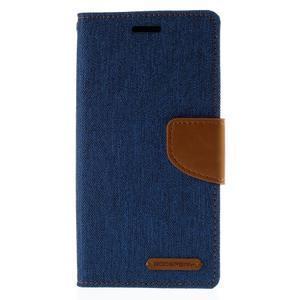 Luxury textilné / koženkové puzdro pre Samsung Galaxy S6 Edge - modré - 3