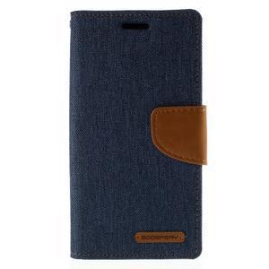 Luxury textilné / koženkové puzdro pre Samsung Galaxy S6 Edge - jeans - 3