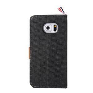 Jeans textilní/pu kožené puzdro na Samsung Galaxy S6 Edge - čierne - 3