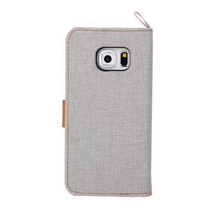 Jeans textilní/pu kožené puzdro na Samsung Galaxy S6 Edge - šedé - 3