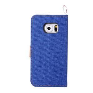 Jeans textilné/pu kožené puzdro pre Samsung Galaxy S6 Edge - modré - 3