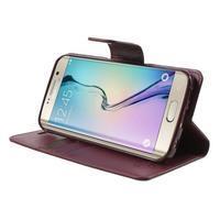 Wallet PU kožené puzdro pre Samsung Galaxy S6 Edge G925 -  vínové - 3/7