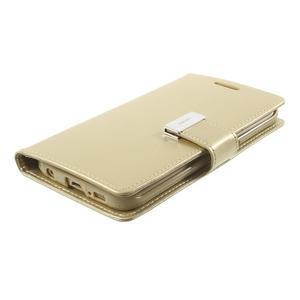 Wallet PU kožené puzdro na Samsung Galaxy S6 Edge G925 - champagne - 3