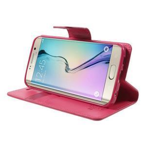 Wallet PU kožené puzdro pre Samsung Galaxy S6 Edge G925 -  rose - 3
