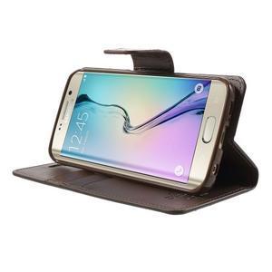 Wallet PU kožené puzdro pre Samsung Galaxy S6 Edge G925 -  tmavohnedé - 3