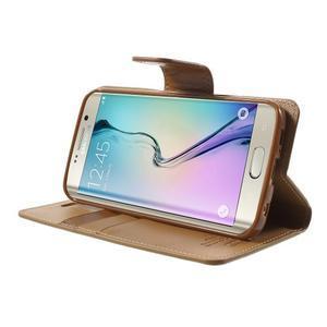 Wallet PU kožené puzdro na Samsung Galaxy S6 Edge G925 -  hnedé - 3