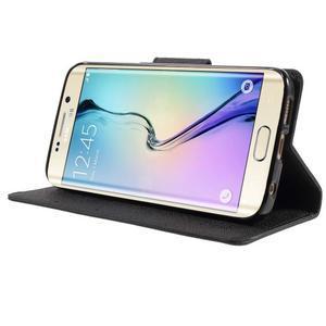 Diary PU kožené puzdro na Samsung Galaxy S6 Edge - čierne - 3