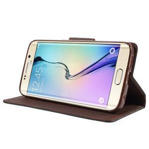 Diary PU kožené puzdro pre Samsung Galaxy S6 Edge - čierne/hnede - 3