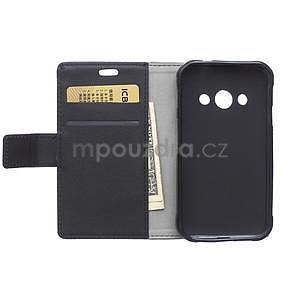 Peňaženkové pu kožené puzdro na Samsung Galaxy Xcover 3 - čierne - 3