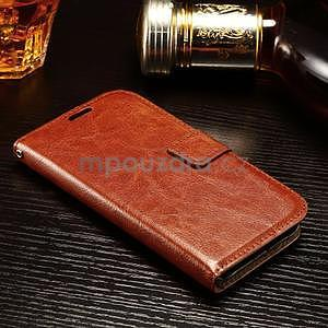 Koženkové peňaženkové puzdro pre Samsung Galaxy Xcover 3 - hnedé - 3