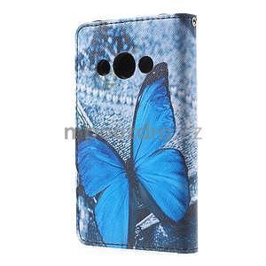 Štýlové peňaženkové puzdro pre Samsung Galaxy Xcover 3 - modrý motýľ - 3
