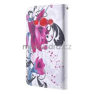 Štýlové peňaženkové puzdro pre Samsung Galaxy Xcover 3 - fialové kvety - 3