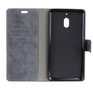 Retro PU kožené peňaženkové puzdro na mobil Nokia 2.1 - sivé - 3
