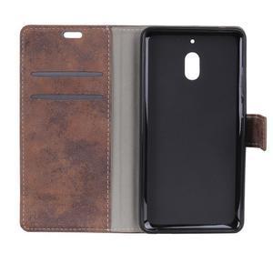 Retro PU kožené peňaženkové puzdro na mobil Nokia 2.1 - hnedé - 3
