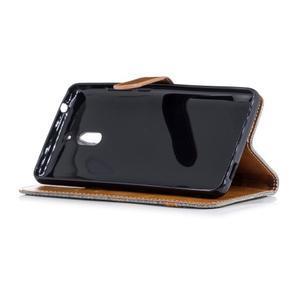 Jeans PU kožené/textilné puzdro na mobil Nokia 2.1 - sivé - 3