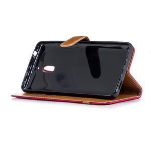Jeans PU kožené/textilné puzdro na mobil Nokia 2.1 - červené - 3