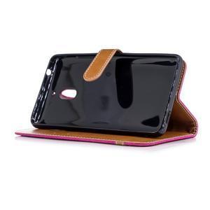 Jeans PU kožené/textilné puzdro na mobil Nokia 2.1 - rose - 3