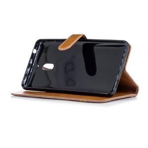 Jeans PU kožené/textilné puzdro na mobil Nokia 2.1 - khaki - 3