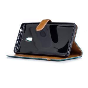 Jeans PU kožené/textilné puzdro na mobil Nokia 2.1 - zelené - 3