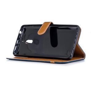 Jeans PU kožené/textilné puzdro na mobil Nokia 2.1 - tmavomodré - 3