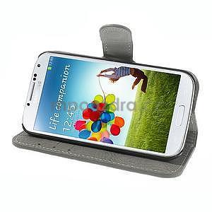 PU kožené peňaženkové puzdro pre Samsung Galaxy S4 - šedé - 3