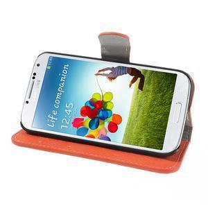 PU kožené peňaženkové puzdro pre Samsung Galaxy S4 - oranžové - 3