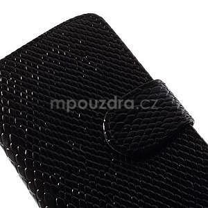 PU kožené peněženkové pouzdro s hadím motivem na Samsung Galaxy S4 - černé - 3