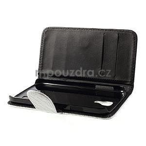 PU kožené peňaženkové puzdro s hadím motívom pre Samsung Galaxy S4 - biele - 3