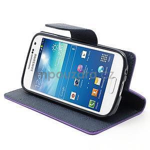 PU kožené peňaženkové puzdro pre Samsung Galaxy S4 mini - fialové - 3