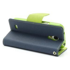 PU kožené peňaženkové puzdro pre Samsung Galaxy S4 mini - tmavo modré - 3