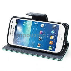 PU kožené peněženkové pouzdro na Samsung Galaxy S4 mini - cyan - 3