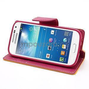 PU kožené peněženkové pouzdro na Samsung Galaxy S4 mini - žluté - 3