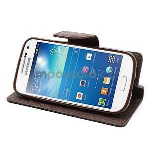PU kožené peňaženkové puzdro pre Samsung Galaxy S4 mini - hnedé/čierne - 3