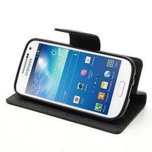 PU kožené peňaženkové puzdro pre Samsung Galaxy S4 mini - čierne - 3